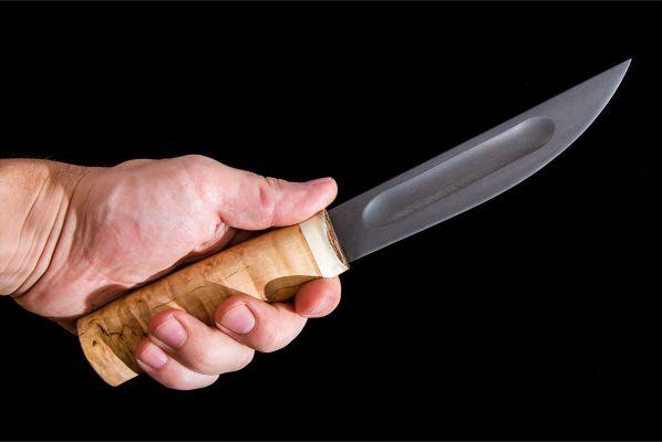 Якутский нож, большой <span>(булат, карельская береза, больстер лосиный рог)</span>