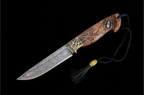 Авторский нож Барс <span>(мозаичный дамаск, стабилизированная карельская береза, резная рукоять, инкрустация)</span>