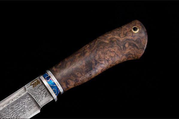 Нож Походный <span>(мозаичный дамаск, больстер мозаичный дамаск с никелем, стабилизированная карельская берёза, мозаичный пин под темляк)</span>