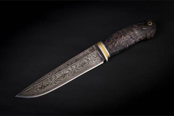 Нож Охотник <span>(мозаичный дамаск, стабилизированная карельская берёза, мозаичный пин под темляк)</span>