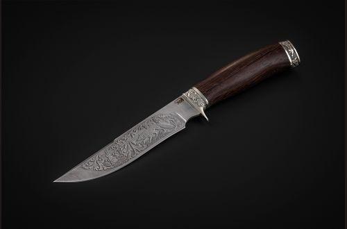 Нож Лис <span>(дамаск, венге, литье мельхиор, художественное оформление)</span>