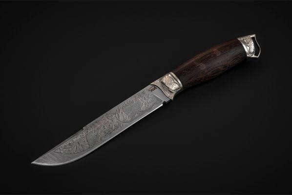 Нож Таежный (дамаск, венге, литье мельхиор, художественное оформление)