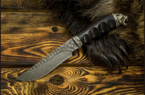 Нож Походный <span>(дамаск, долы камень, чёрный граб, литьё мельхиор, рукоять обточена под пальцы)</span>