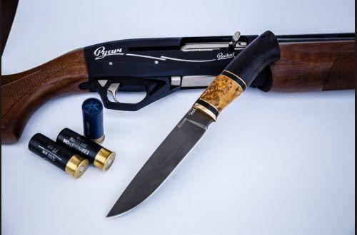 Нож Лиса <span>(булат, черный граб, стабилизированная вставка)</span>