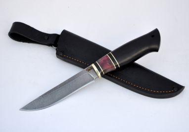 Нож Барс <span><span>(дамаск, чёрный граб, стабилизированная вставка)</span></span>