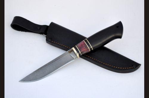 Нож Барс <span>(дамаск, чёрный граб, стабилизированная вставка)</span>