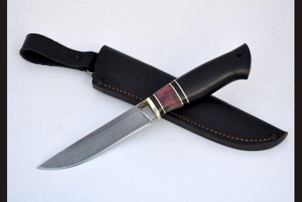 Нож Барс (дамаск, чёрный граб, стабилизированная вставка)