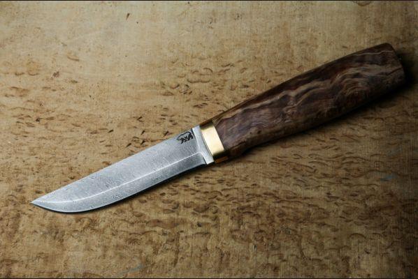Реплика финского ножа Puukko 2 (дамасская сталь 1200 слоёв,стабилизированная карельская береза )