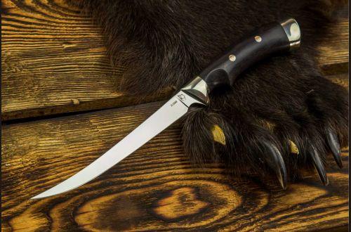 Нож Филейный малый <span>(х12мф, чёрный граб, мельхиор, мозаичные пины, выемка под палец)</span>