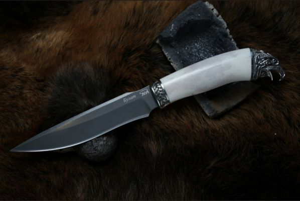 Нож Ворон (булат, рог лося, литьё мельхиор 2)