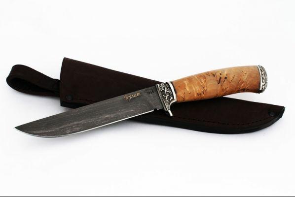 Нож Волк <span>(булат, карельская берёза, литьё мельхиор)</span>