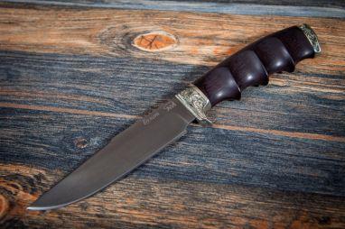 Нож Беркут <span><span>(булат, черный граб, литьё мельхиор, резная рукоять под пальцы)</span></span>