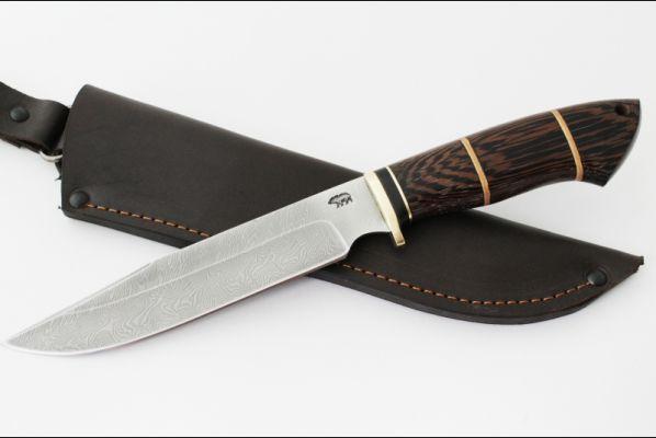 Нож Разведчик 2 (дамаск, венге, вставка береста)
