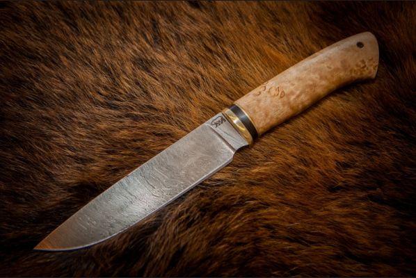 Нож Лиса (дамаск, карельская береза)