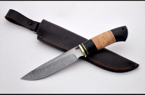 Нож Путник <span>(дамаск, береста, чёрный граб)</span>