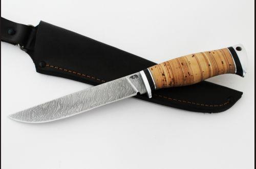 Нож Волк <span>(дамаск, береста, дюраль)</span>