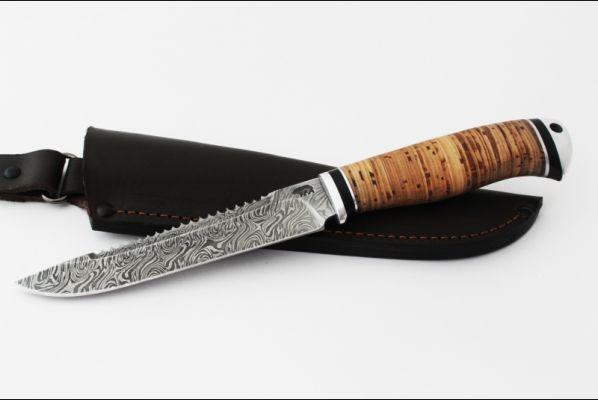 Нож Ёрш (дамаск, береста, дюраль)