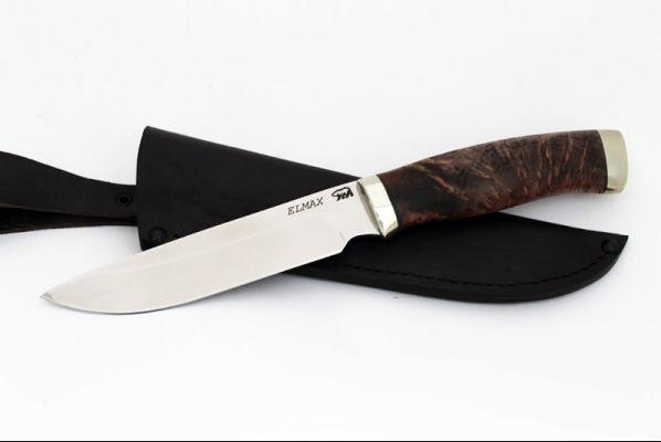 Нож Путник (elmax, стабилизированная карельская берёза, мельхиор)