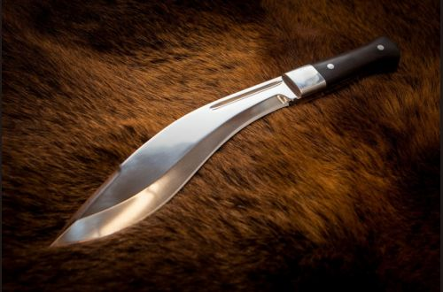 Нож Кукри <span>(х12мф, черный граб, накладки дюраль, цельнометаллическая)</span>