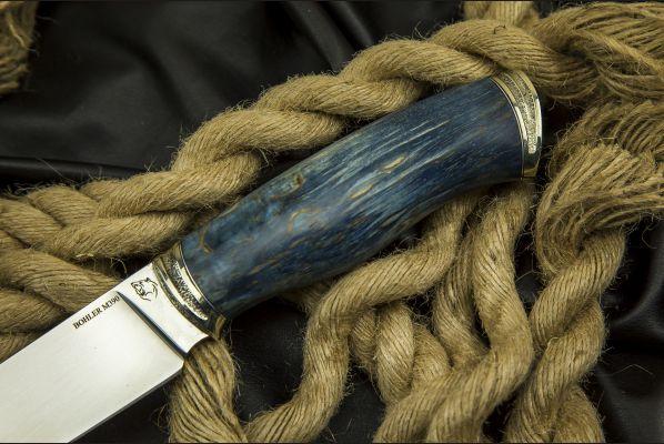 Нож Охотник 2 <span>(М390, спуски от обуха, стабилизированная карельская береза, литьё мельхиор)</span>