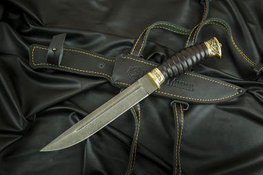 Нож Пластунский <span><span>(дамаск 1200 слоёв, черный граб, литье латунь, резная рукоять, кожаные ножны)</span></span>