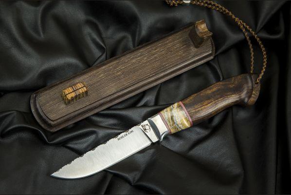 Нож Мичман <span>(S390, вставка стабилизированный зуб мамонта, больстер мельхиор, айронвуд)</span>
