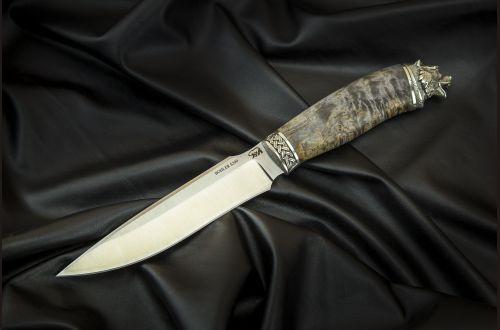 Нож Ворон <span>(S390, стабилизированная карельская берёза, литьё мельхиор)</span>