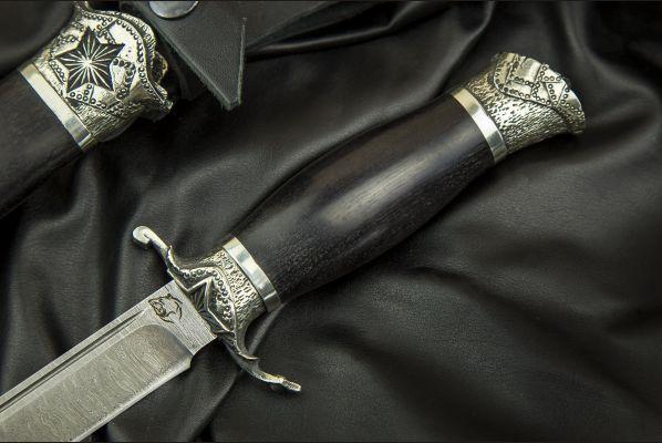 Авторская финка НКВД <span>(дамаск, авторское литье, граб, деревянные ножны)</span>