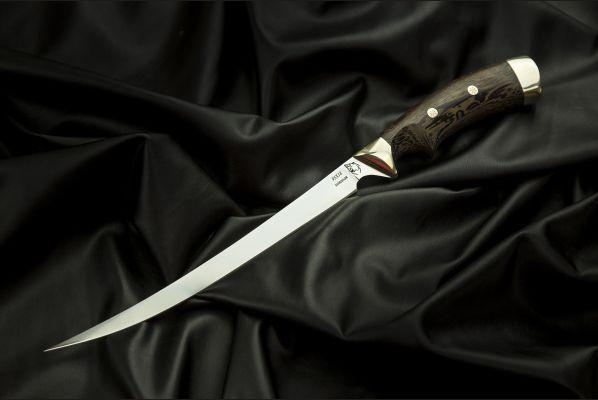 Нож Филейный <span>(95Х18, венге, мельхиор, мозаичные пины, выемка под палец)</span>