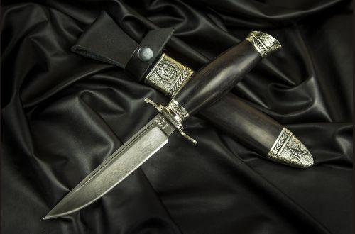 Финка НКВД разборная <span>(Булат, стабилизированный черный граб, литье мельхиор, деревянные ножны)</span>