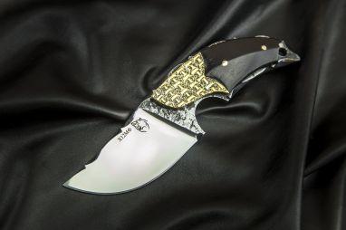 Нож Альхон <span><span>(х12мф, черный граб, больстер медь, резной клинок)</span></span>