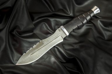 Нож Взмах <span><span>(дамаск, черный граб, дюраль, резная рукоять)</span></span>
