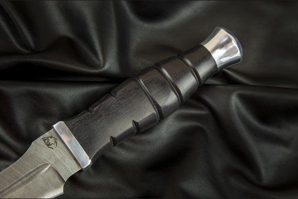 Нож Взмах <span>(дамаск, черный граб, дюраль, резная рукоять)</span>