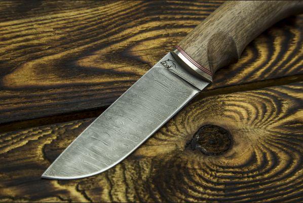 Нож Боровик - Premium <span>(дамаск 6000 слоёв, корень ореха, мозаичный пин под темляк)</span>