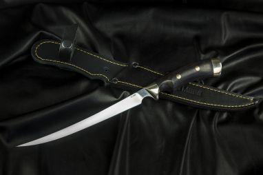 Нож Филейный <span><span>(х12мф, чёрный граб, мельхиор, мозаичные пины, выемка под палец)</span></span>