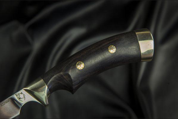 Нож Филейный <span>(х12мф, чёрный граб, мельхиор, мозаичные пины, выемка под палец)</span>