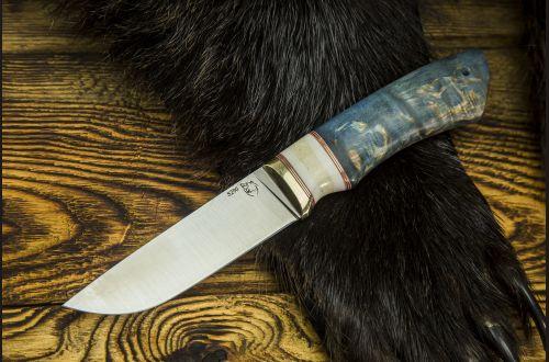 Нож Боровик Premium <span>(S390, стабилизированная карельская береза, вставка клык моржа)</span>