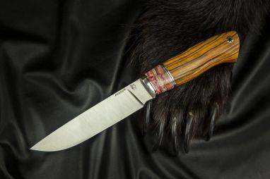Нож Лиса <span><span>(S390, мельхиор, вставка стабилизированный зуб мамонта, айронвуд, мозаичный пин под темляк)</span></span>
