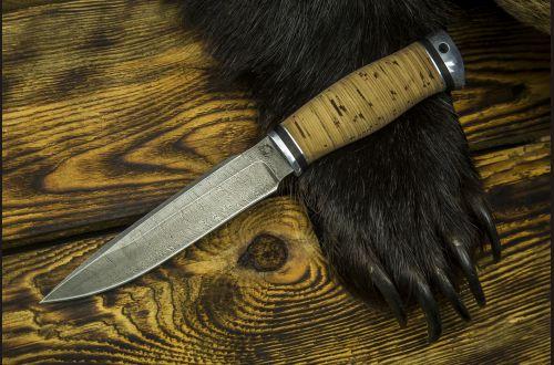 Нож Ворон <span>(дамаск, береста, дюраль)</span>