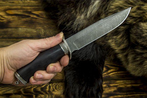 Нож Разведчик 2 <span>(дамаск, чёрный граб, литье мельхиор)</span>