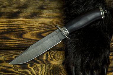 Нож Разведчик 2 <span><span>(дамаск, чёрный граб, литье мельхиор)</span></span>