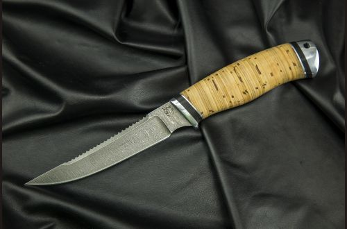 Нож Рыбак <span>(дамаск, береста, дюраль)</span>