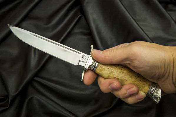 Финка НКВД разборная <span>(сталь х12мф, карельская береза, литье мельхиор, деревянные ножны)</span>