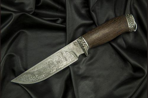 Нож Сахалин <span>(дамаск, венге, литье мельхиор, художественное оформление)</span>