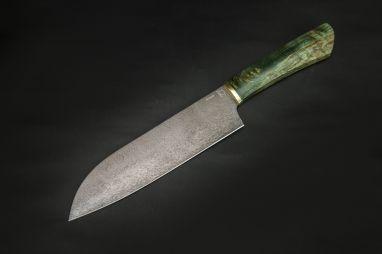 Кухонный нож Сантоку 1 <span><span>(булат, стабилизированная карельская берёза)</span></span>
