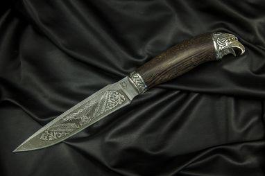 Нож Ворон <span><span>(дамаск, венге, литьё мельхиор 2, художественное оформление)</span></span>