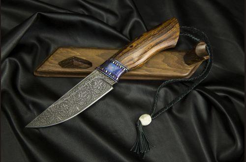 Авторский нож Русский <span>(мозаичный дамаск, мозаичный больстер, вставки титан, айронвуд, мозаичный пин под темляк)</span>