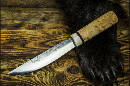 Якутский нож, большой <span>(х12мф, карельская берёза, больстер лосиный рог, кованый дол)</span>
