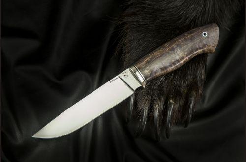 Нож Лиса <span>(M390, больстер мельхиор, стабилизированная карельская береза)</span>