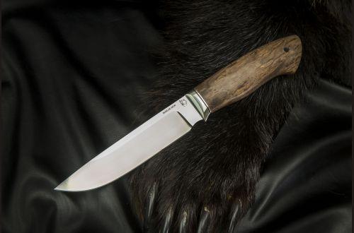 Нож Путник <span>(M390, больстер мельхиор, стабилизированная карельская береза)</span>